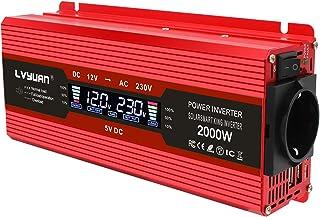 Yinleader inversor de Corriente 1000w 2000w Onda modificada 12v a 220v Transformador Enchufe Coche Dual USB para Coche Pan...