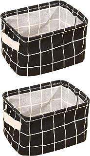 SAVORLIVING 小型 収 納バスケット 折り畳み式 収納箱 綿製 収納ボックス 卓上だなコンテナ ハンドル付き 化粧品 ベビートイ、文房具 2個セット Foldable Storage Basket (ブラック)