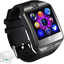 Bluetooth Smart Watch with Camera SIM Card Slot Pedometer Fitness Tracker Wristwatch Men Women Boys Smartwatch Compatible with Android Smart Phones Samsung Galaxy LG HTC Huawei Motorola Black