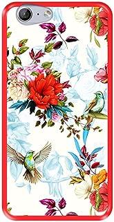 Mobilskal för [ Zte Blade V770 - Orange Neva 80 ] design [ Blommönster med fåglar ] Röd TPU flexibelt silikonskal