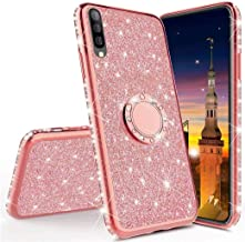 LEECOCO Huawei Mate 20 Lite Case Glitter Bling Diamond Sparkly Luxury Plating Silicon TPU Soft Shockproof Cover with Ring Stand Holder Compatible with Huawei Mate 20 Lite Plating TPU Rose Gold KDL