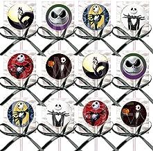 Jack Skellington Lollipops Party Favors Decorations Movie Lollipops w/ Black Ribbon Bows Party Favors -12, Nightmare Before Christmas, Halloween, Skeleton