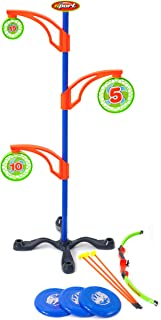Sport Squad Bullseye Bash Magnetic Target Practice Game - Perfect Nerf Target for Shooting Practice - Includes Bow and Arrow for Kids and Flying Discs - Archery Toy Set for Boys and Girls