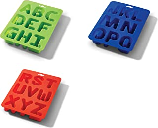 HIC 43819 Eat Your Words Ice Cube Tray and Baking Mold, Non-Stick Silicone, FDA Approved, Makes 26 Letters, Set of 3