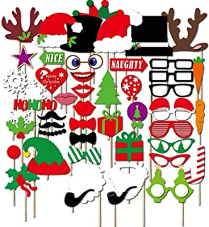 2019 Christmas Photo Booth Props Kit,50pcs DIY Christmas Photo Booth Funny Xmas Selfie Props Accessories for for Christmas Theme Party Favors Decorations Decor Supplies