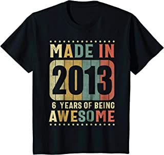 Kids Vintage Made in 2013 T Shirt 6 Years of Being Awesome Shirt