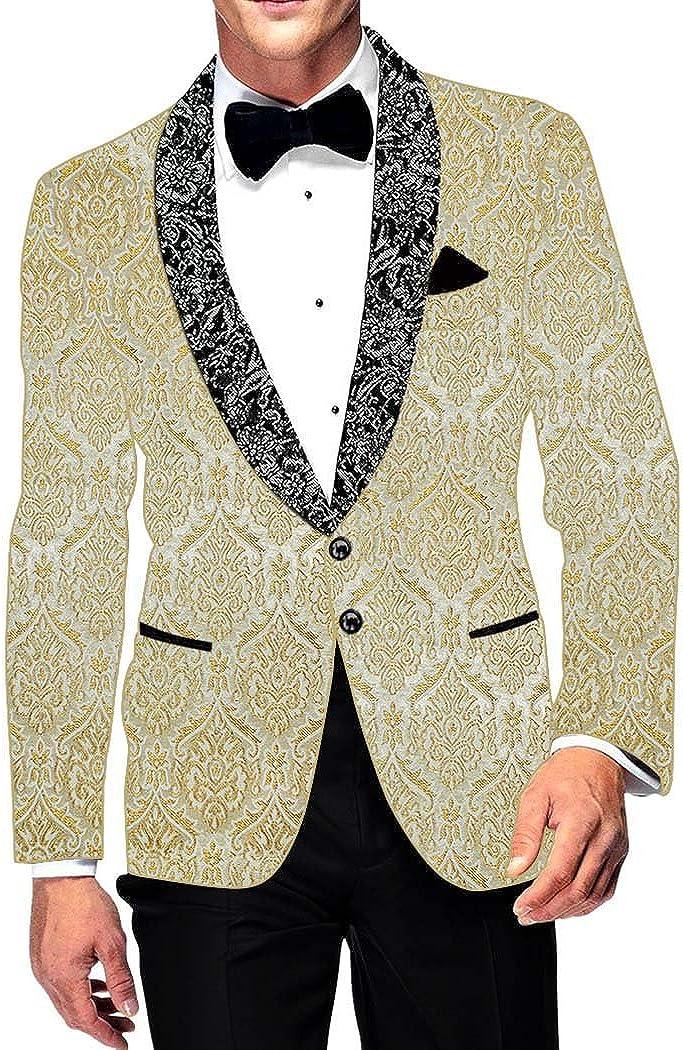 INMONARCH Mens Slim fit Casual Cream Brocade Blazer Sport Jacket Coat Flower Design SB14882