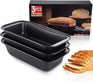 3 Pcs Acier au Carbone moules à Pain Rectangulaire,Moule à Cake Téflon Rectangulaire Anti-Adhérent,Noir,25×13×6.2cm