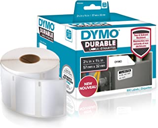 """DYMO LW Durable Industrial Labels for LabelWriter Label Printers, White Poly, 2-1/4"""" x 1-1/4"""", Roll of 800 (1933084)"""
