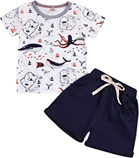 YOUNGER TREE Toddler Baby Boy Summer Outfits Dinosaur Print Shirt Top Short Pants Cotton Clothes Sets