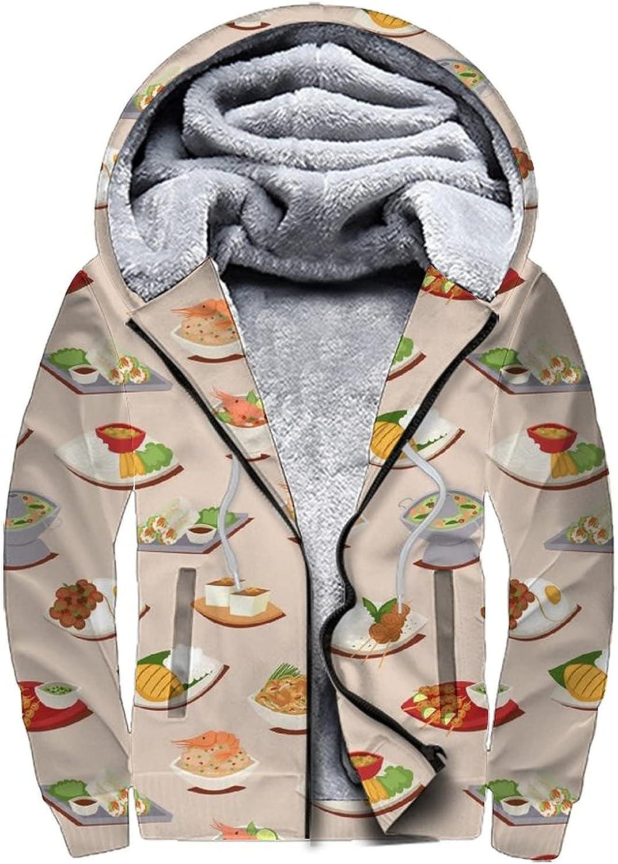 Men's Zip Up Hoodie Fleece Hooded Sweatshirt, Winter Warm Thick Coats S-3XL