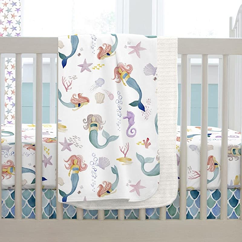 Carousel Designs Watercolor Mermaids Crib Blanket