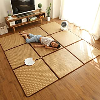 WX&QIANG Straw Foldable Mosaic Floor Mat Rattan Mat Tatami Mat Bedroom Baby Carpet Children Puzzle Crawling Mat Creativity...