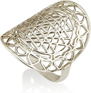 Sri Yantra Ring Sterling Silver 925 Sacred Geometry Flower of Life Yoga Jewelry