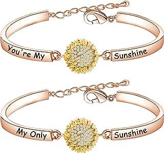 HOLLP Distance Sunflower Bracelet Set For Women Girl Friendship Jewelry You are My Sunshine My Only Sunshine Bracelet Moth...