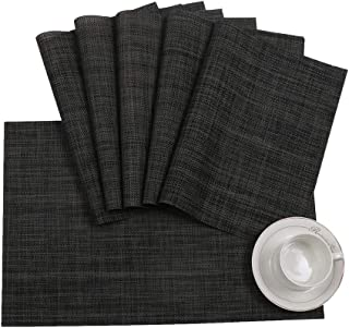 LJHSZ Placemats Set of 6 for Dining Table Washable Woven Vinyl Placemat Non-Slip Heat Resistant Kitchen Table Mats Easy to...
