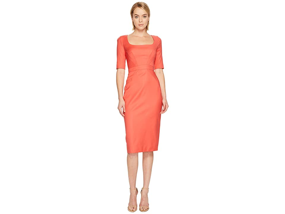 Zac Posen Tropical Wool Short Sleeve Scoop Neck Dress (Apricot) Women