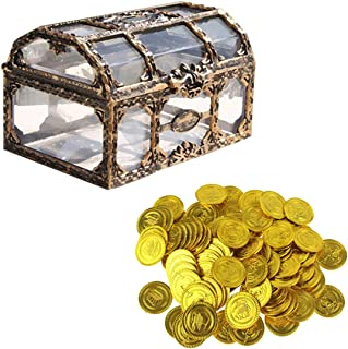 NUOLUX 21 Pcs Enfants Pirate Coffre Au Trésor Coffre À Jouets en Plastique Pièces d'or Antique Souvenir De Stockage Coffre...