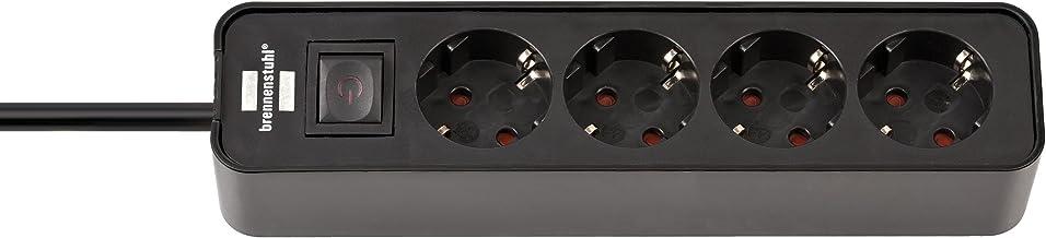 Brennenstuhl Ecolor stekkerdoos 4-voudig (stekkerdoos met schakelaar en 1,5 m kabel) zwart