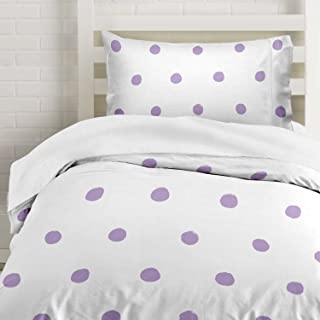 Lilac Polka Dot Duvet Cover Twin Size Bedding, Soft and Wrinkle Free, White and Purple 2 Piece Set