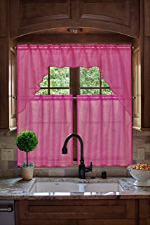 GorgeousHomeLinen (#66) New Kitchen Collection 3pc Set Voile Sheer Kitchen Curtain Window Dressing in Solid Colors (HOT PINK)