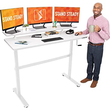 "Stand Steady Tranzendesk 55 in Standing Desk w/Clamp On Shelf | Easy Crank Height Adjustable Stand Up Workstation w/Attachable Monitor Riser | Supports 3 Monitors & Adds Extra Desk Space (55""/White)"