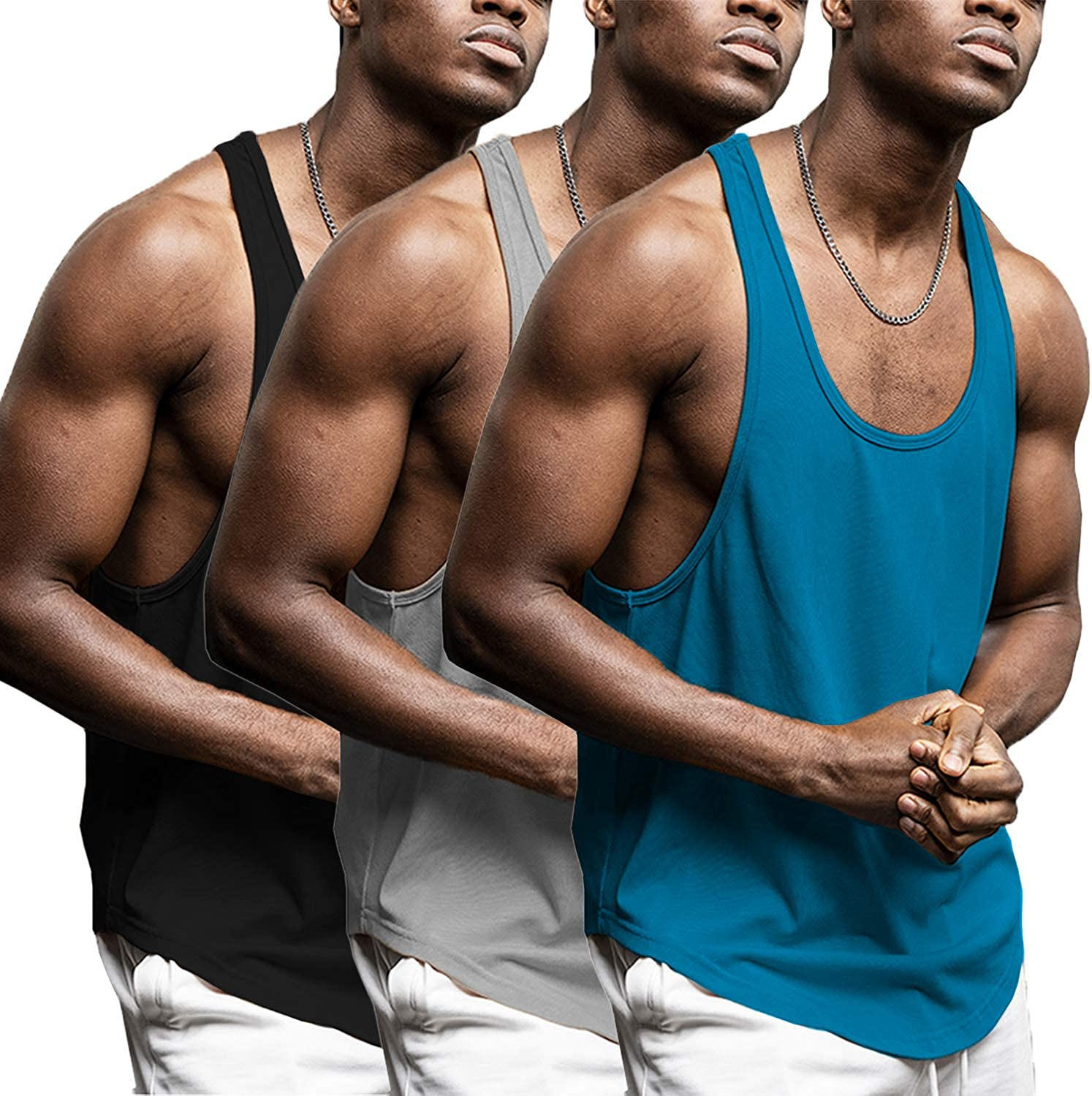 LecGee Mens 3 Packs Workout Tank Top Gym Muscle Tee Fitness Bodybuilding Sleeveless Shirt