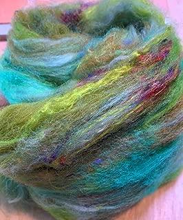 """Radioactive"" Felting Hand Blended Wool Batt 1.5 oz of Mixed fibers Wool, Silk and Sari Silk Waste Bright Colors neon Wool"