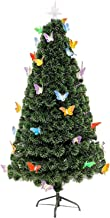 Christmas Tree Multi-Color with Top Star Metal Stand Traditional Holiday Indoor Pre-lit Optical Fiber Tree with Ornaments ...