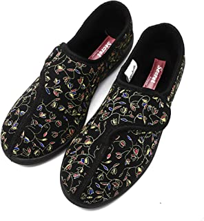 Women's Wide Width Diabetic Recovery Slippers, Fully Adjustable Touch Close Memory Foam House Shoes Fit for Elderly, Pregnant, Edema, Swollen Feet, Walking, Indoor & Outdoor