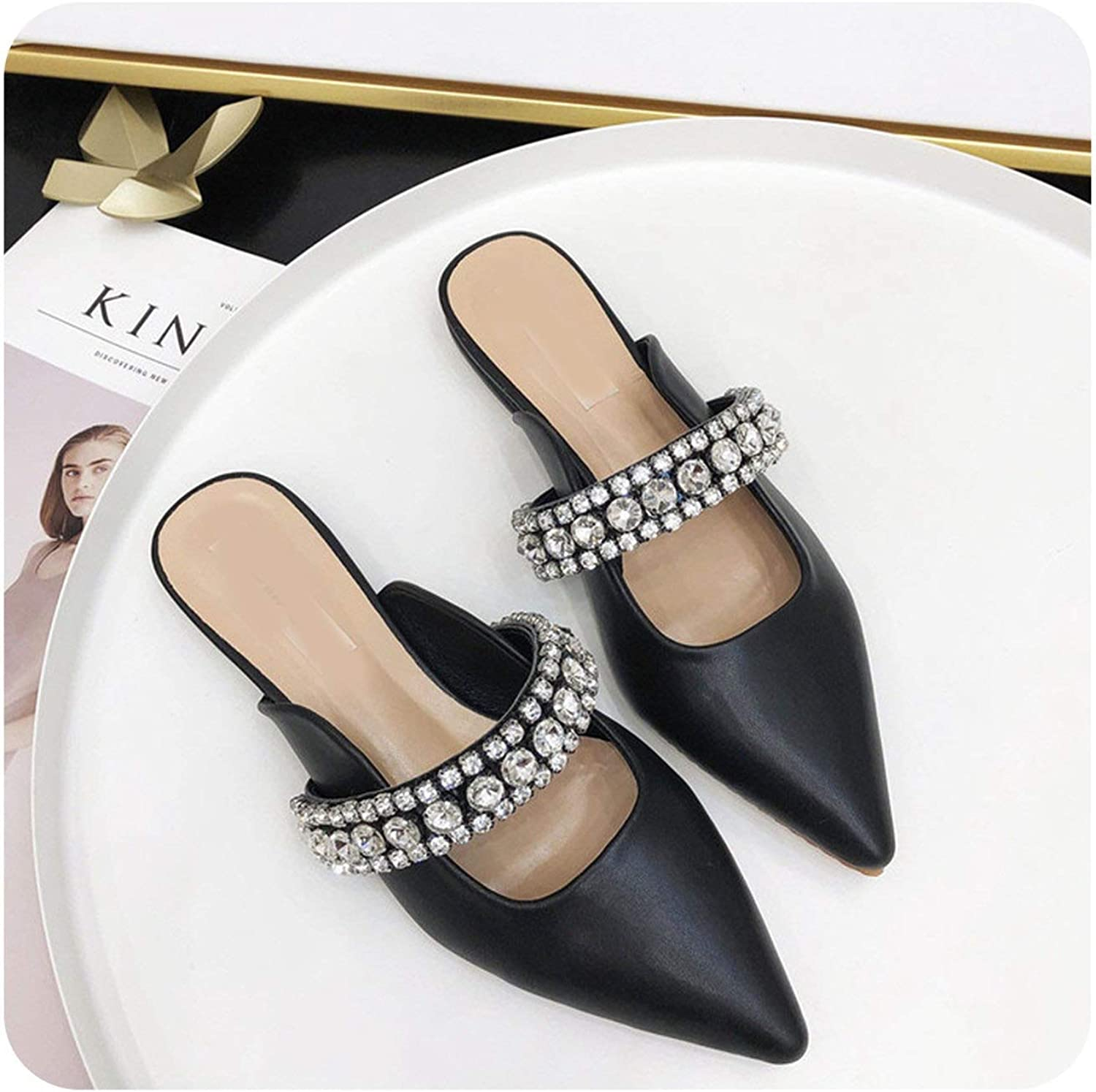 END GAME Wellwak Luxury Slippers Mules shoes Crystals Slides Ladies Dress shoes Woman Slippers