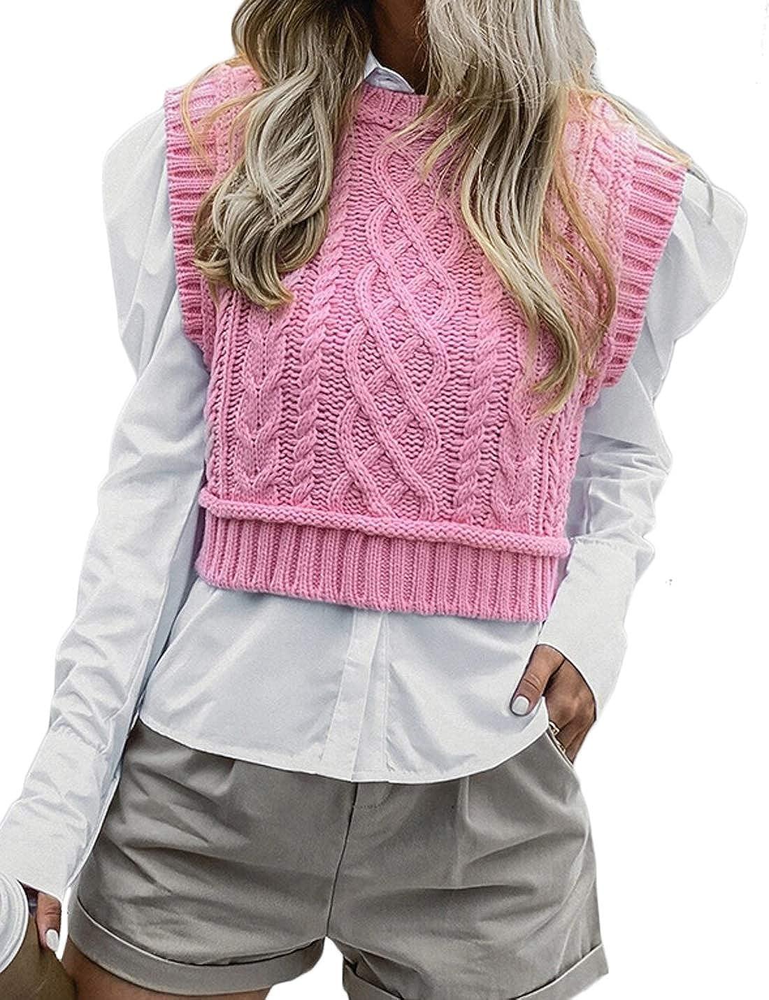 Jenkoon Women's Stylish Crew Neck Cable Knit Sweater Vest Crop Girl Knitwear Sweater Tops