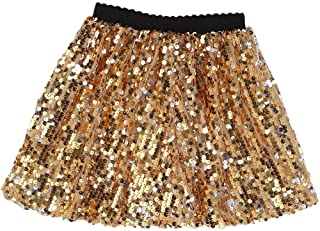 Flofallzique Girls Sequin Skirt with Elastic Waistband Girls Mini Skirt for 1-12 Years Old
