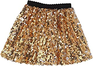 Gold Girls Skirts Mini Sequin Toddler Dancing Skirt for 1-12 Years Old