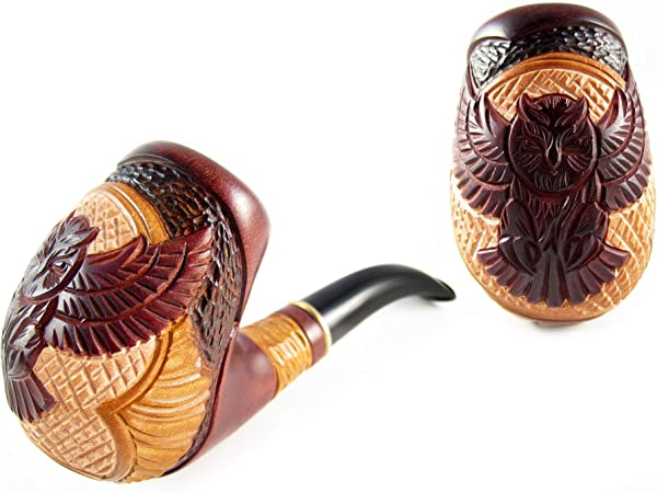 Fashion Exclusive Tobacco Smoking Pipe OWL Wooden Handcrafted And Metal Cooler 9 Mm Filter Designed For Pipe Smokers