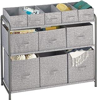 mDesign étagère de Rangement pour Chambre ou Couloir – Meuble de Rangement avec 11 Compartiments en Tissu pour Habits, Cha...
