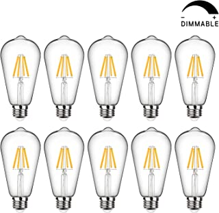 LED Edison Bulb Dimmable, Daylight White 5000K, 60W Equivalent, 6W Vintage Light Bulb High Brightness 800 Lumens, Filament Light Bulb, ST64 LED Bulbs, CRI 90+, E26 Base, Clear Glass, Pack of 10