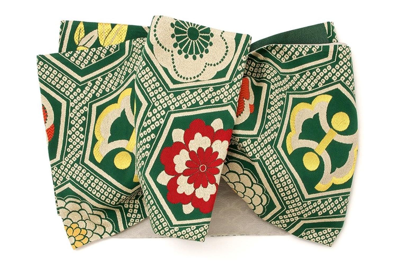 (ソウビエン) 袋帯 きもの道楽 緑 グリーン 金色 梅 桜 菊 竹 小槌 亀甲 正絹 六通柄 振袖向け 成人式 日本製 仕立上がり