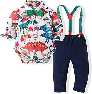 Kimocat Baby Boy Gentleman Dinosaur Tie Shirt Suspender Pants Clothing Set