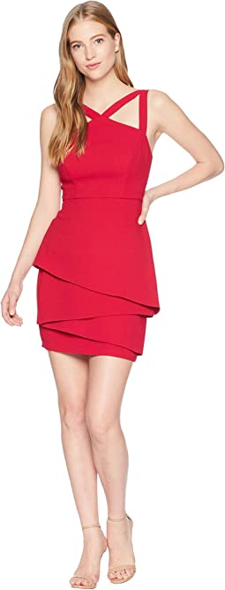 Halter Strap Dress with Asymmetrical Peplum