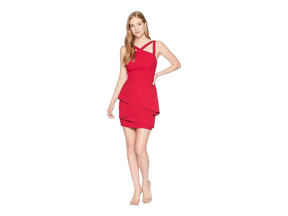 BCBGMAXAZRIA Halter Strap Dress with Asymmetrical Peplum (Sangria) Women