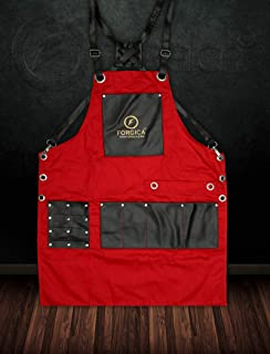 FORGICA Professional Leather Aprons For Men Barber Apron Cape for Salon Hairstylist - Multi-use, Adjustable with 8 pockets - Heavy Duty Premium Quality Aprons For Women- NY Edition (Red And Black)