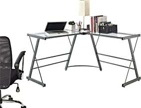 Ameriwood Home Odin Glass L-Shaped Computer Desk, Gray