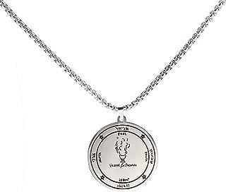 fishhook Viking Key of Solomon Pentacle Ceremonial Magic Talisman Amulet Stainless Steel Silver Tone Pendant Chain Necklace for Women Men