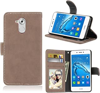 Absorption Bumper Cover Flip Stand Case Cover Retro Style PU Leather Case with Kickstand and Card Slots for Huawei Enjoy 6s Protective Cell Phone Cases (Color : Beige)