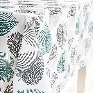 Dreaming Casa Nappe Imperméable de Table Rectangulaire Résistant Nappe Anti-Taches Tissu Oxford Motif Feuille pour Table à...