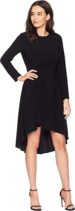 Matte Jersey Fit and Flare Dress with High-Low Hem