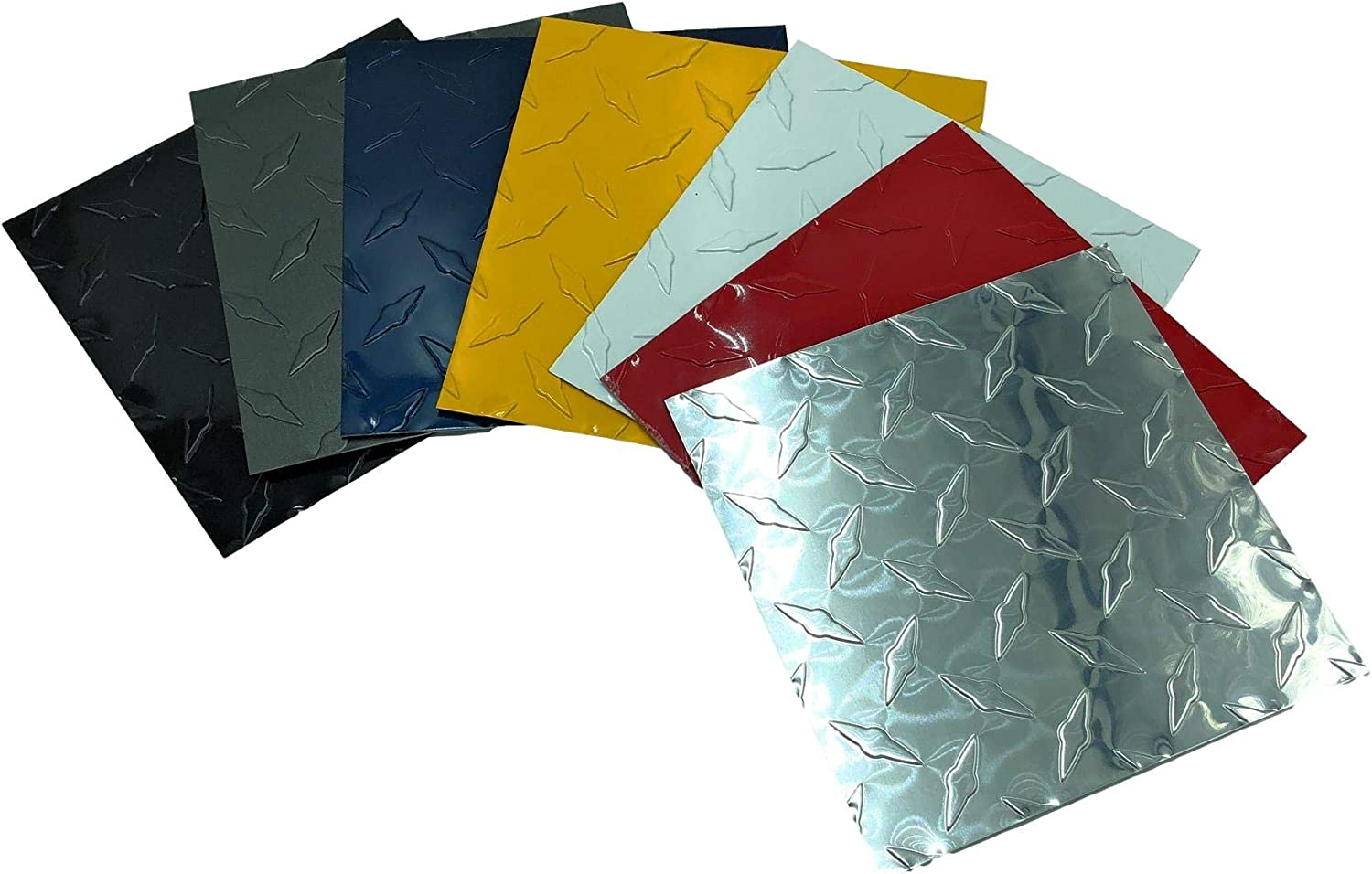 Eagle 1-0.025 10 FT Embossed Aluminum Diamond Checker Plate Sheets//Rolls Multiple Sizes and Colors 2in. X 10ft, Grey Thin - Rolls Include 10 Free 1//8 Aluminum Rivets and Drill Bit
