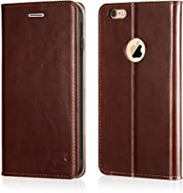 Belemay iPhone 6s Case, iPhone 6 Case, Genuine Leather Case Slim Wallet, Flip Folio Cover [Durable Soft TPU Inner Case] Card Holder Slots, Kickstand, Cash Pocket Compatible iPhone 6s / iPhone 6, Brown