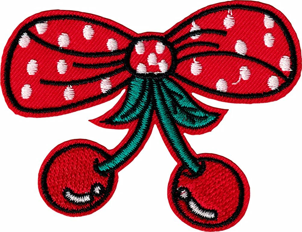 Polka Dot Bow and Cherries - Iron Sew On Patch/Applique